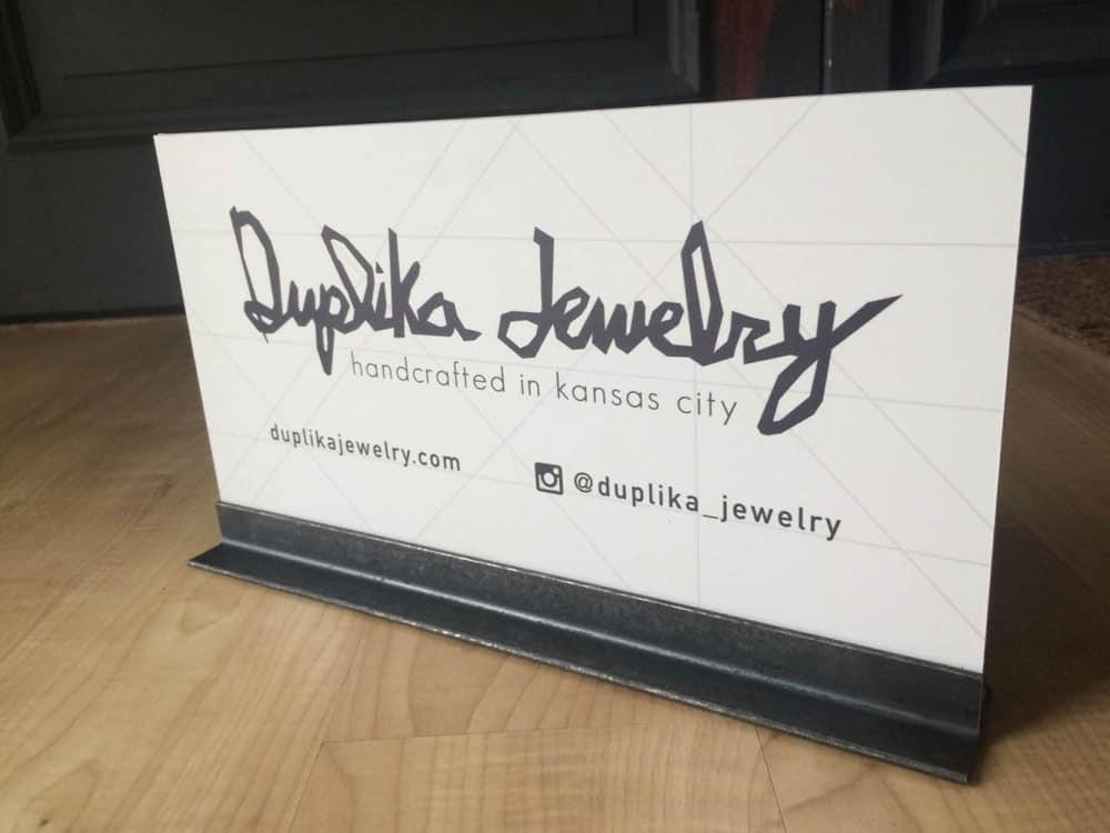 duplika jewelry-unique-pvc-angle-iron-sign-design-printing