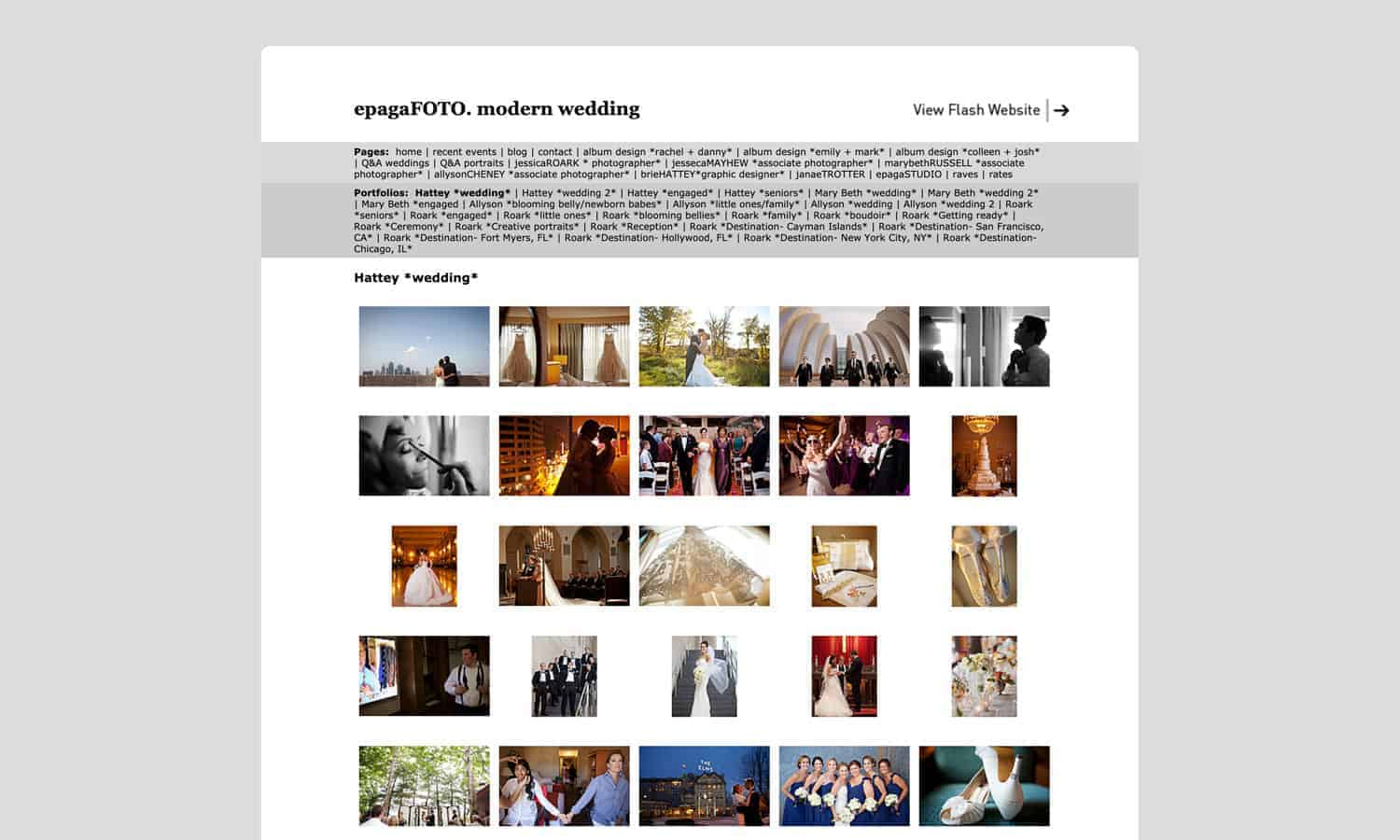 photography website redesign before